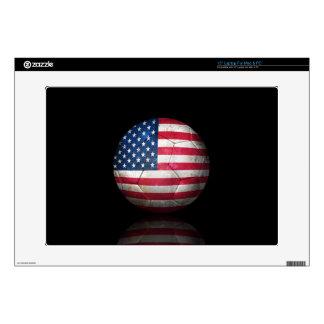 """Worn American Flag Football Soccer Ball Skins For 15"""" Laptops"""