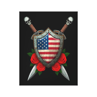 Worn American Flag Shield and Swords with Roses Gallery Wrap Canvas