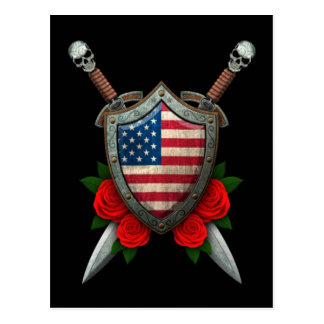 Worn American Flag Shield and Swords with Roses Postcard