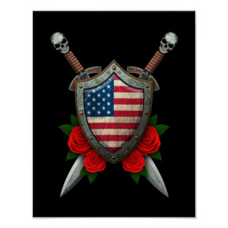 Worn American Flag Shield and Swords with Roses Posters