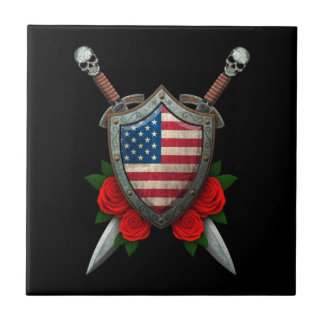 Worn American Flag Shield and Swords with Roses Tile