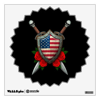 Worn American Flag Shield and Swords with Roses Wall Sticker