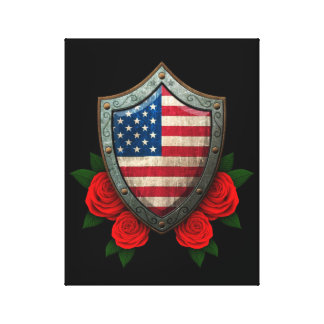 Worn American Flag Shield with Red Roses Canvas Prints