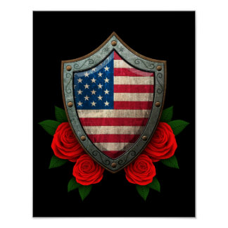 Worn American Flag Shield with Red Roses Print