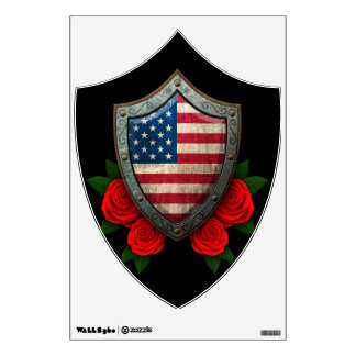 Worn American Flag Shield with Red Roses Wall Stickers
