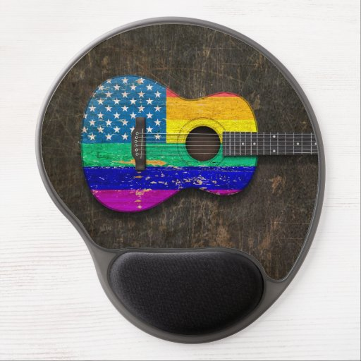 Worn American Rainbow Gay Pride Acoustic Guitar Gel Mouse Pads