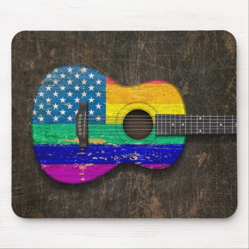 Worn American Rainbow Gay Pride Acoustic Guitar Mouse Pads