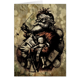 Worn and Spattered Santa Illustration Greeting Cards
