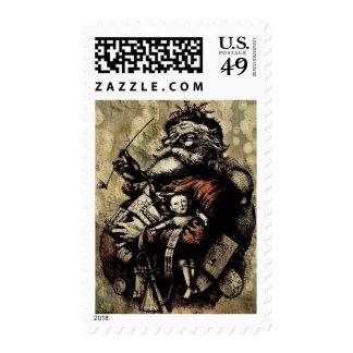 Worn and Spattered Santa Illustration Postage Stamps
