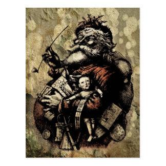 Worn and Spattered Santa Illustration Post Cards