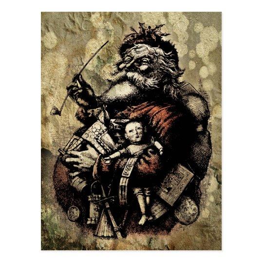 Worn and Spattered Santa Illustration Postcard
