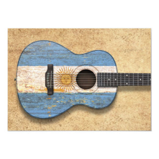 Worn Argentinian Flag Acoustic Guitar Card