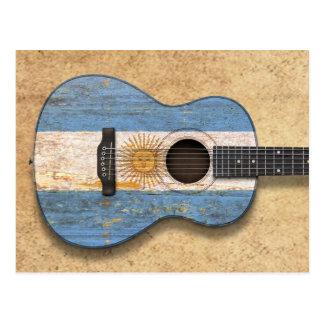 Worn Argentinian Flag Acoustic Guitar Postcard