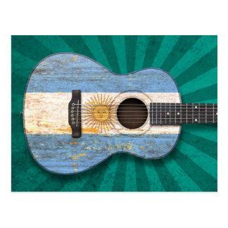 Worn Argentinian Flag Acoustic Guitar, teal Postcard