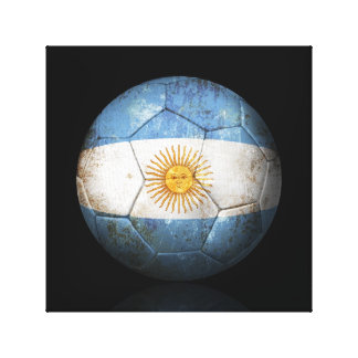 Worn Argentinian Flag Football Soccer Ball Stretched Canvas Prints