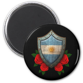 Worn Argentinian Flag Shield with Red Roses Refrigerator Magnets