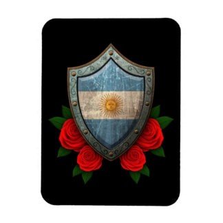 Worn Argentinian Flag Shield with Red Roses Flexible Magnets