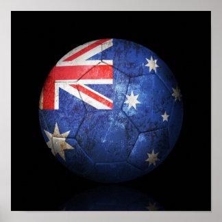 Worn Australian Flag Football Soccer Ball Poster