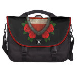 Worn Austrian Flag Shield with Red Roses Laptop Commuter Bag