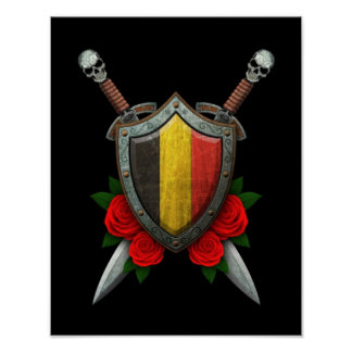 Worn Belgian Flag Shield and Swords with Roses Poster