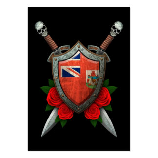 Worn Bermuda Flag Shield and Swords with Roses Business Card Template
