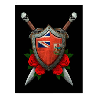 Worn Bermuda Flag Shield and Swords with Roses Postcard