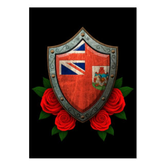 Worn Bermuda Flag Shield with Red Roses Business Card Templates