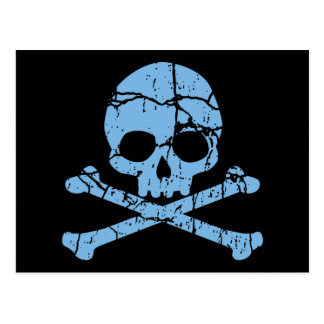 Worn Blue Skull and Crossbones Postcard