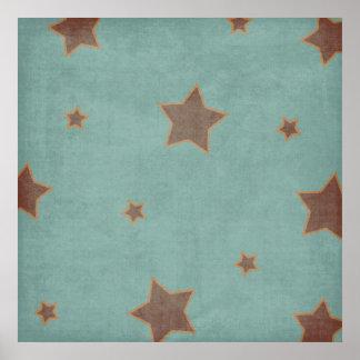 Worn Blue Stars Backdrop Poster