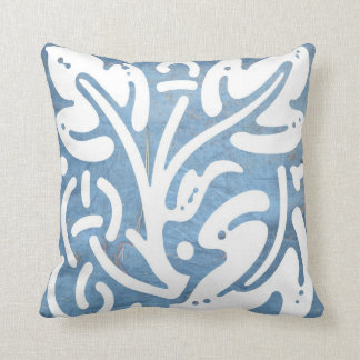Worn Blue Tarp Celtic Leaf and Knot Pillow