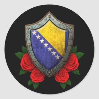 Worn Bosnia and Herzegovina Flag Shield with Roses Classic Round Sticker