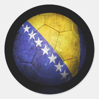 Worn Bosnia Herzegovina Flag Football Soccer Ball Classic Round Sticker