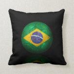 Worn Brazilian Flag Football Soccer Ball Pillow