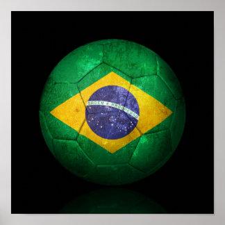 Worn Brazilian Flag Football Soccer Ball Poster