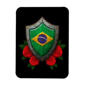 Worn Brazilian Flag Shield with Red Roses Vinyl Magnet