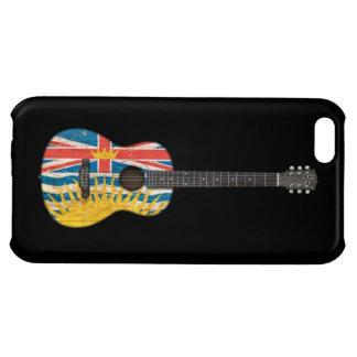 Worn British Columbia Flag Acoustic Guitar, black Case For iPhone 5C