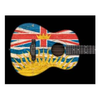 Worn British Columbia Flag Acoustic Guitar, black Postcards