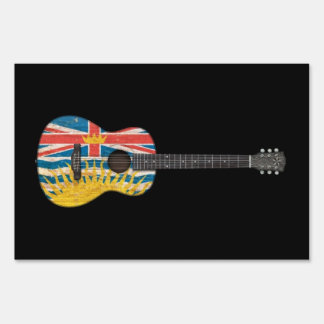 Worn British Columbia Flag Acoustic Guitar, black Yard Sign
