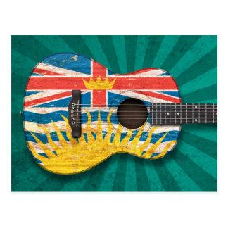 Worn British Columbia Flag Acoustic Guitar, teal Post Cards
