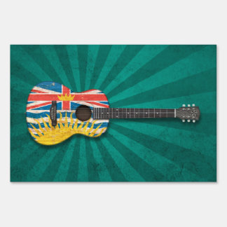 Worn British Columbia Flag Acoustic Guitar, teal Signs