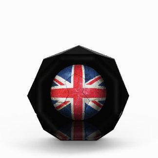 Worn British Flag Football Soccer Ball Acrylic Award