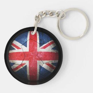 Worn British Flag Football Soccer Ball Keychain
