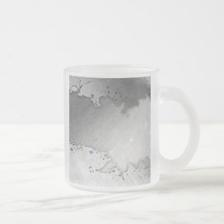 Worn Brushed Metal (faux) Layout Frosted Glass Coffee Mug