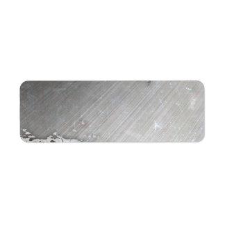 Worn Brushed Metal faux Layout Custom Return Address Label