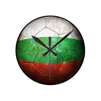 Worn Bulgarian Flag Football Soccer Ball Round Clocks