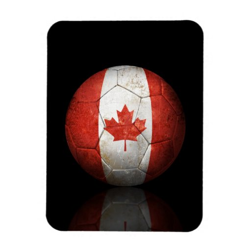 Worn Canadian Flag Football Soccer Ball Flexible Magnet
