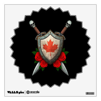 Worn Canadian Flag Shield and Swords with Roses Wall Sticker