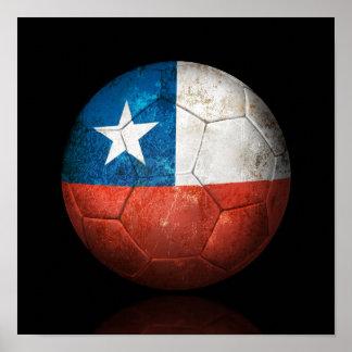 Worn Chilean Flag Football Soccer Ball Poster