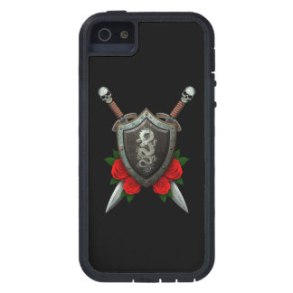 Worn Chinese Dragon Shield and Swords with Roses iPhone 5 Cases