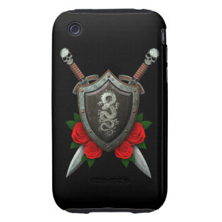Worn Chinese Dragon Shield and Swords with Roses Tough iPhone 3 Cases